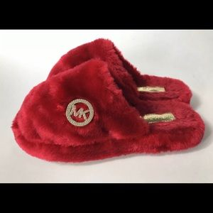 Michael Kors Jet Set Faux Fur Slippers Red